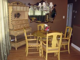 Hand Painted Country Dining Table Chairs Hutch Must See Detail Detail