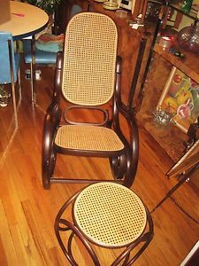 Vintage Mid Century Thonet Bentwood Cain Rocking Chair Ottoman Rocker