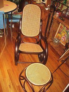 Vintage Mid Century Thonet Bentwood Cain Rocking Chair Ottoman Rocker