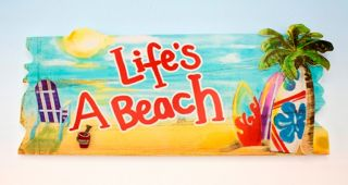 Adirondack Chair Palm Tree Beach Surfboard Life's A Beach Wooden Sign Wall Decor