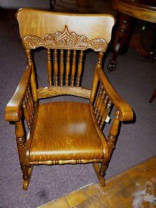 Antique Oak Rocking Chair Pressed Back Arms Childs Rocker Refinished Restored
