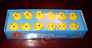 Looney Tunes Tweety Bird Shower Curtain Rings Hooks