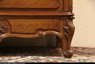 French Carved Walnut 1900 Antique Secretary Desk