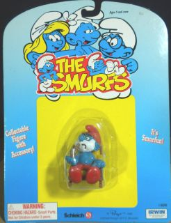 Smurfs Rocking Chair Papa Super Smurf RARE Vintage Figure Toy Lot 40228 4 0228