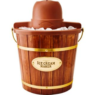 Electric 4 Quart Wooden Bucket Ice Cream Maker Machine w Old Fashion Nostalgia