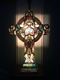 Tiffany Style Stained Glass Lighted Cross Lamp