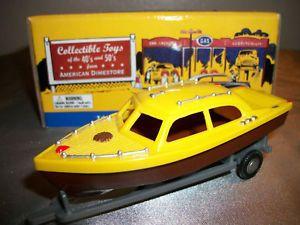 1940's Plastic American Dimestore Car 4 Train Gas Service Station Boat w Trailer