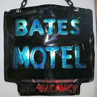 Bates Motel Vacancy Sign Black Red Blue Halloween Sign Haunted House Prop Used