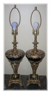 Pair Vintage Antique Marble Glass Lamps Black Gold Hollywood Regency