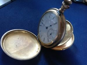 1899 6 Size Elgin 15 Jewel Pocket Watch in Gold Filled Hunting Case
