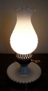 White Milk Glass Hobnail Lamp