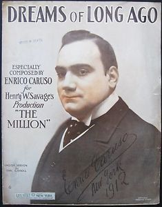 "1912 Enrico Caruso ""Dreams of Long Ago"" Broadway Sheet Music Large Format Opera"