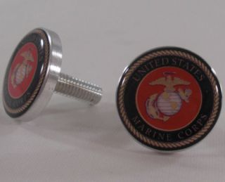 "2 Chrome ""USMC Marines"" License Plate Frame Bolts Motorcycle Custom Fastener"