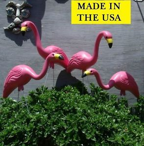 "4 Large 27"" Pink Flamingos Plastic Yard Garden Lawn Art Ornaments Decorations"