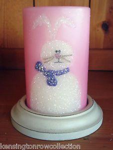 White Rabbit Candle Lamp Bunny Luminary Night Light Accent Lamp Pink