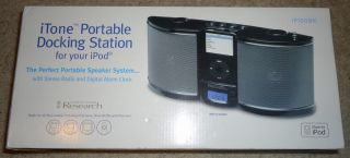 Emerson Research Portable iPod Dock Radio Alarm iP100 Black New