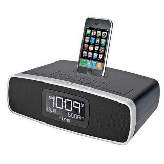 iHome Dual Alarm Clock Radio with Am FM Radio iPod iPhone Dock in Black IP90BZ