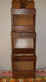 Mail Letter Bill Vintage 3 Slotted Tier Wood Wooden Wall Organizer w Key Holder