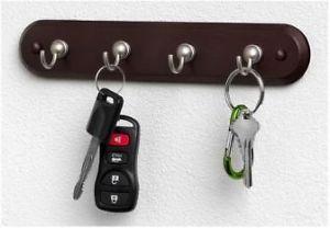 4 Hook Key Rack Wall Mount 4 Key Hangers Key Organizer Home Dorm Office New