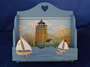 Letter Mail Organizer Key Holder 4 Hooks Hangers Wall Mount Lighthouse Sailboats