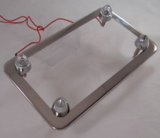 Chrome Motorcycle License Tag Plate Frame w Clear LED Spike Lic Fastener Bolts