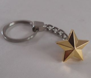 Chrome Key Chain w Gold Rock Star Hot Rat Rod Hotrod Ratrod Custom Keychain