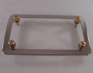 Chrome Motorcycle License Plate Tag Frame Gold Billet Hex Lic Fastener Bolts