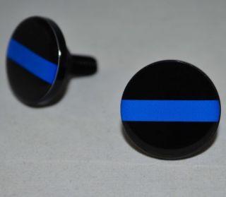 """2 Black Billet """"Police Blue Line"""" Motorcycle License Plate Frame Bolts Screws"""