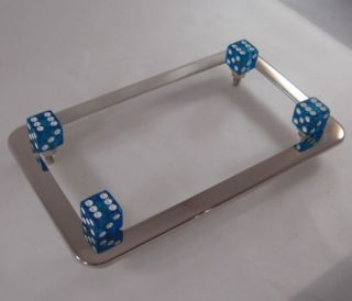 Chrome Motorcycle License Plate Tag Frame Blue Glitter Dice Fastener Bolts