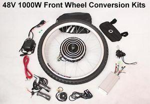 "48V 1000W 26"" Front Wheel Kits Electric Bicycle E Bike Retrofit Kits New"