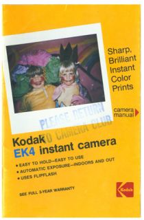 Kodak EK4 Instant Cmaera Instruction Manual Original
