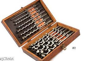 Vintage Antique Irwin Brace Drill Auger Tool Bit Set Woodworking Label Kit