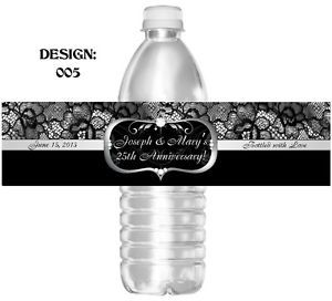 Silver 50th Anniversary Water Bottle Labels Party Favors Bridal Wedding Birthday