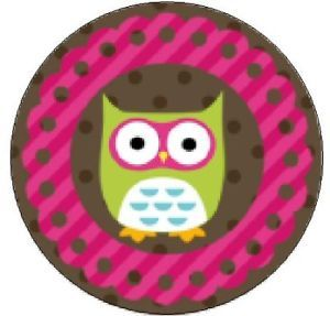 """Green Owl in Pink Brown 1"""" Round Labels Stickers"""