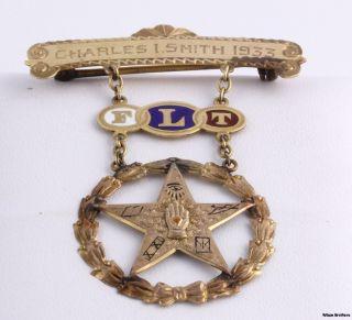 Odd Fellow 1933 Flt Medal Enameled Star Symbol Jewel Estate 14k Solid Gold