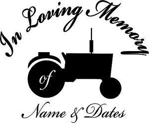 In Loving Memory Tractor Decal Sticker 4 Laptop Window Auto Truck Scrapbook RV