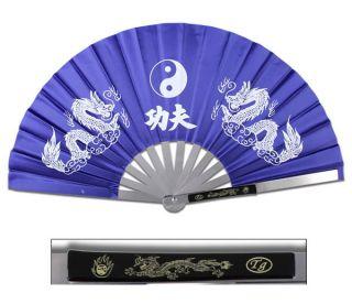 New Heavy Duty Steel Blue Dragon Kung Fu Tai Chi Fan Martial Arts Hand Wushu