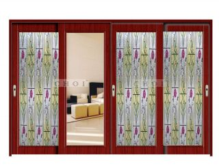 537 Decorative Translucent 3D Laser Embossed Static Cling Window Film Treatment