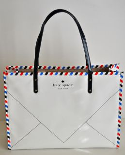 Kate Spade Joseph Par Avion Bone Envelope Letter Air Mail Tote WKRU1794