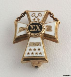 Vintage Sigma Chi Fraternity Badge 10K Yellow Gold Cross Box Pin Greek 1945