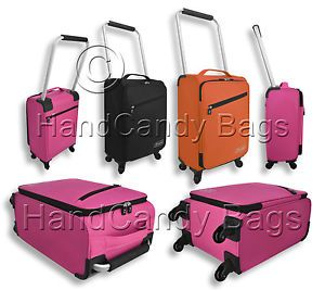"Z Frame 18"" Cabin Bag Suitcase 4 Wheels Light Hand Luggage Pink Black or Orange"