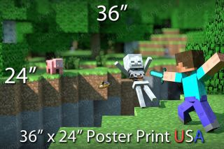 Minecraft Huge Poster Print 36x24 Steve Diamond Sword Skeleton USA Seller New