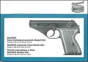 Mauser HSC Auto Pistol Instruction Manual on A CD