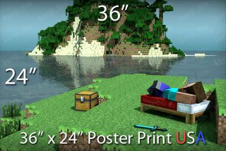 Minecraft PC Huge Poster Print 36x24 Steve Island Relax Diamond Sword USA New