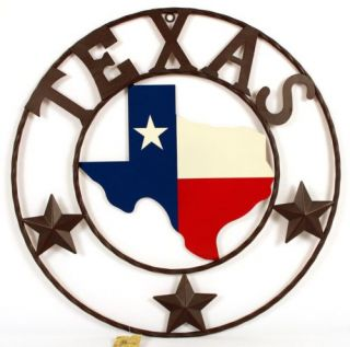 Metal Texas Map Lone Star Circle Sign Wall Decor