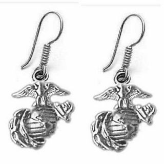 USMC Marine Corps Logo Earrings 925 Sterling Silver