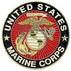 U s Marine Corps Round Military Enamel Emblem Crest Logo Auto Car Grill Badge