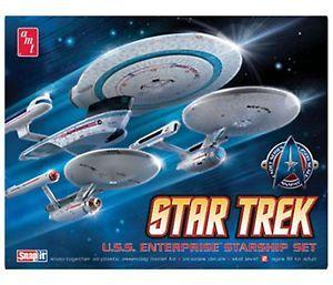 Star Trek USS Enterprise Starship Set AMT Snap Model Kit 3 Models 660
