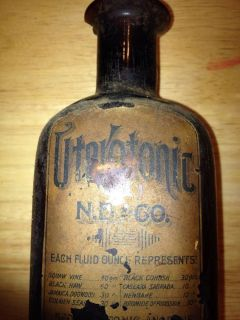 "Antique Paper Label Medicine Bottle ""Uterotonic"" NB Co ""RARE"" Amber 8 Inches"