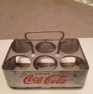 Vintage Aluminum Coca Cola Coke 6 Bottle Carrier Case Holder Collectible Antique